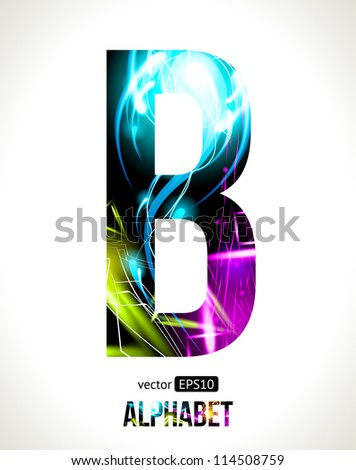 Vector design light effect alphabet. Easy customizable.  Letter B. - stock vector