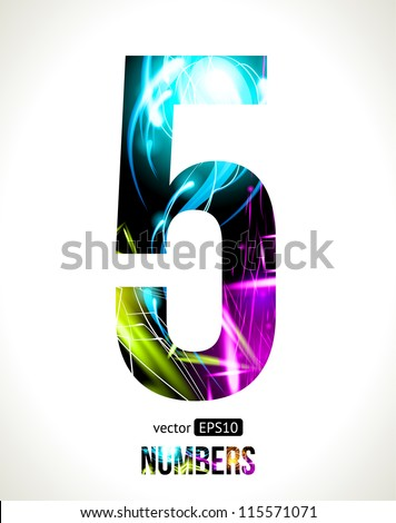 Vector design light effect alphabet. Easy customizable. Number 5. - stock vector