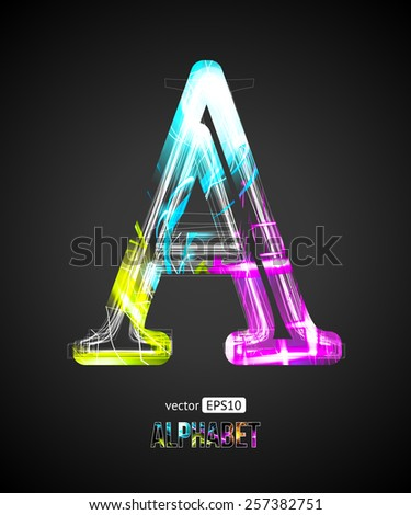 Vector Design Light Effect Alphabet. Letter A on a Black Background. - stock vector