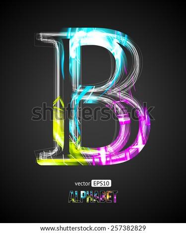 Vector Design Light Effect Alphabet. Letter B on a Black Background. - stock vector