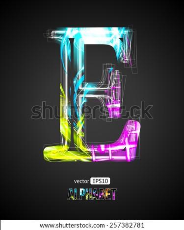 Vector Design Light Effect Alphabet. Letter E on a Black Background. - stock vector