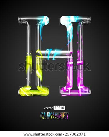 Vector Design Light Effect Alphabet. Letter H on a Black Background. - stock vector