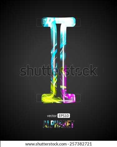 Vector Design Light Effect Alphabet. Letter I on a Black Background. - stock vector