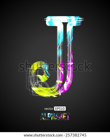 Vector Design Light Effect Alphabet. Letter J on a Black Background. - stock vector