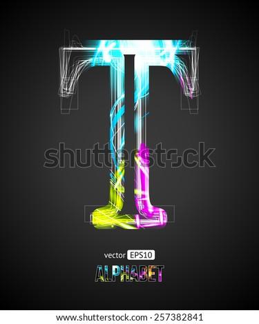 Vector Design Light Effect Alphabet. Letter T on a Black Background. - stock vector