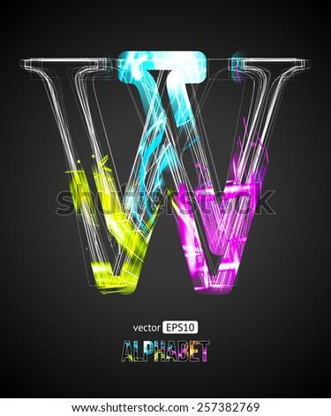 Vector Design Light Effect Alphabet. Letter W on a Black Background. - stock vector