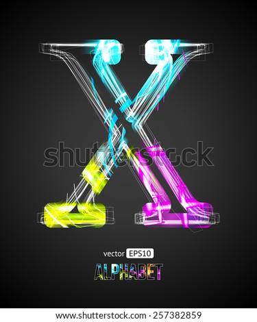 Vector Design Light Effect Alphabet. Letter X on a Black Background. - stock vector