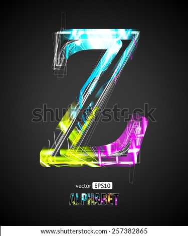 Vector Design Light Effect Alphabet. Letter Z on a Black Background. - stock vector