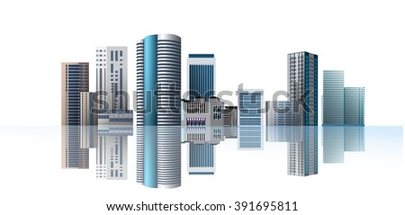 Vector Design - Modern town. City on white background and reflection. Design of lifestyle in metropolis concept, Urban cityscape.
