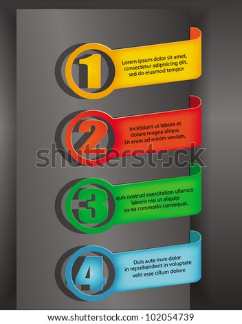 vector design numbered colorful elements - stock vector