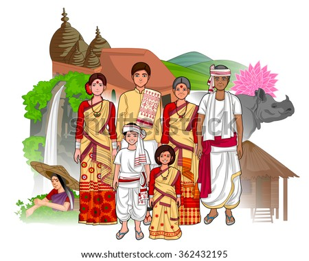 Vector design of Assamese family showing culture of Assam, India