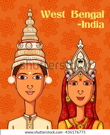 Vector design of Bengali Couple in traditional costume of West Bengal, India - stock vector