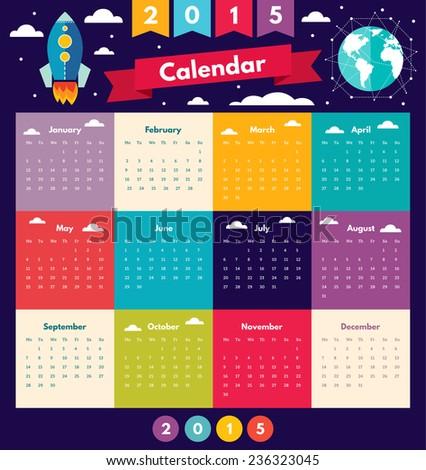 Vector design of Calendar 2015 - stock vector