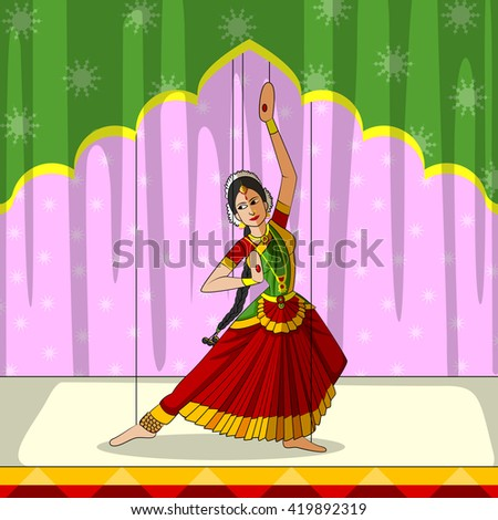 Vector design of colorful Rajasthani Puppet doing Bharatanatyam classical dance of Tamil Nadu, India - stock vector