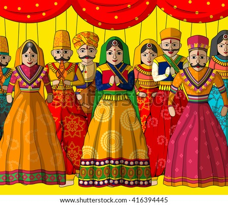 Vector design of colorful Rajasthani Puppet in Indian art style - stock vector