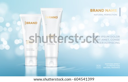 Vector design of cosmetic package advertising template for hand or face cream. Mock up tube on premium blue glitter background with bokeh.