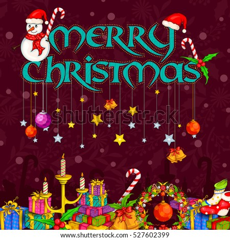 Vector design of Gift for Merry Christmas Holiday celebration background