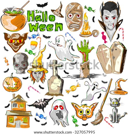 Vector design of Halloween greeting background decoration - stock vector