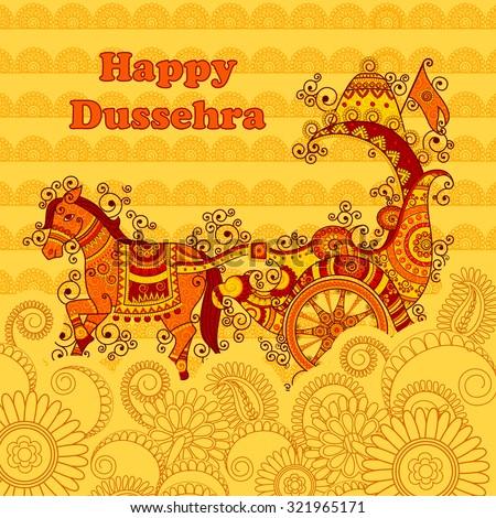 Vector design of Happy Dussehra chariot in Indian art style - stock vector