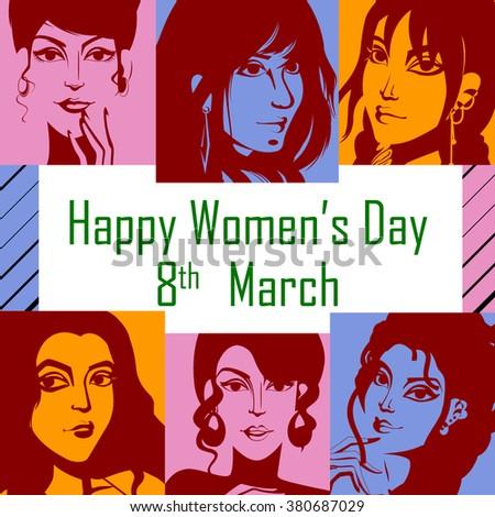 Vector design of Happy Women's Day background - stock vector