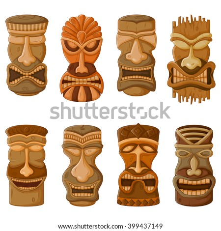 Vector design of Hawaiian Tiki tribal mask for religious or ethnic design - stock vector
