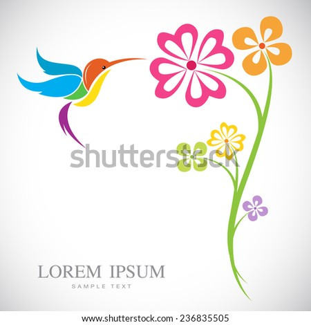 Vector design of hummingbird and flowers on white background - stock vector