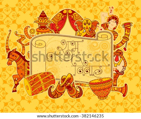 Vector design of Indian art style Subh Vivah (Happy Wedding) message