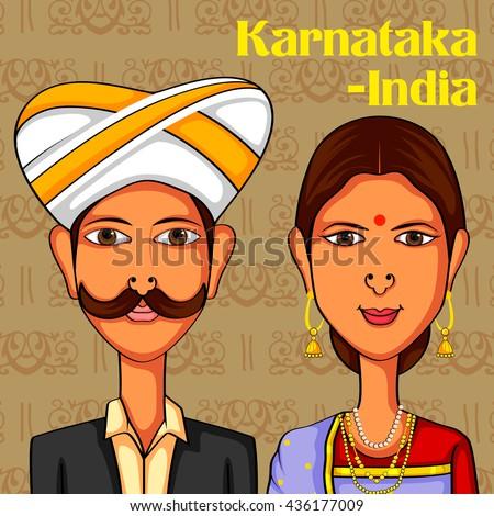 Vector design of Karnatakan Couple in traditional costume of Karnataka, India - stock vector