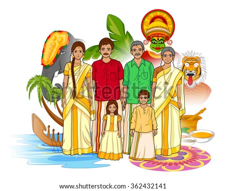 Vector design of Keralite family showing culture of Kerala, India - stock vector