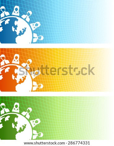 Vector design of modern global connection theme vector banners with distorted mesh grid background. - stock vector
