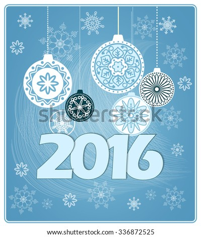 Vector design of new year`s card with hand drawn elements of mandalas and snowflakes. EPS 10.