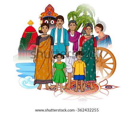 Vector design of Odia family showing culture of Odisha, India