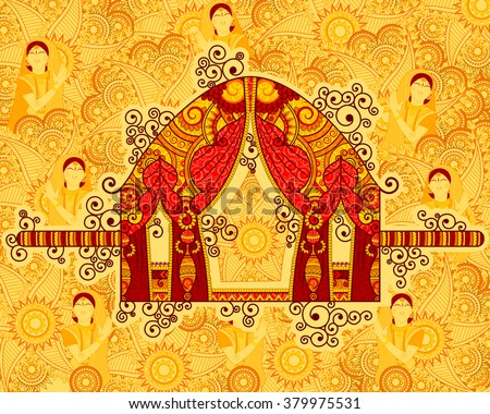 Vector design of palanquin in Indian art style - stock vector