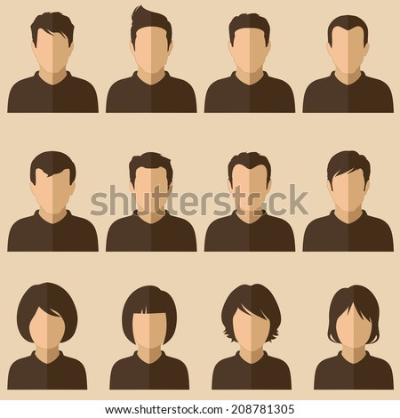vector design of people avatars, flat user face icon - stock vector