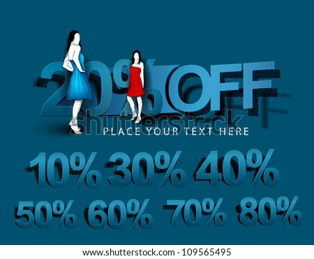 vector design of shopping  fashion girl  showing discount offers. - stock vector