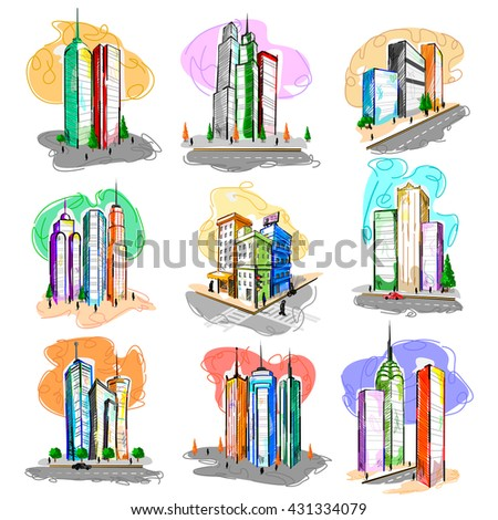 Vector design of skyscraper building tower in abstract style - stock vector