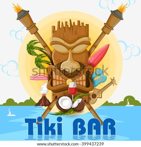 Vector design of Tiki bar poster with tribal mask - stock vector