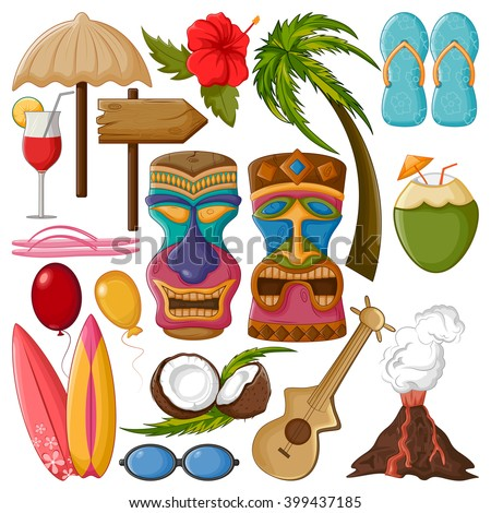 Vector design of Tropical object with tribal tiki mask - stock vector