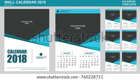 Vector design wall calendar template 2018 stock vector 760228711 vector design of wall calendar template for 2018 with place for your picture 2 months saigontimesfo