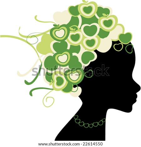 Vector design of woman silhouette with retro hearts and apples hair - stock vector