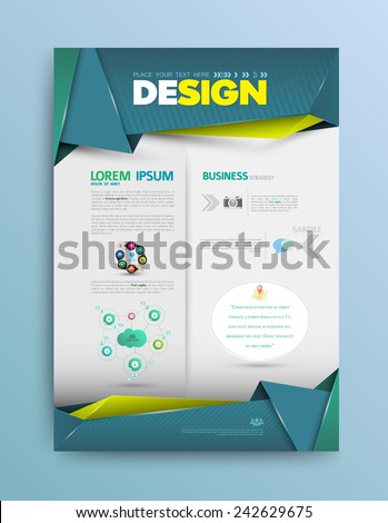 Vector design page template origami modern style. Vector illustration. Can use for business data report, presentation, web page, brochure, leaflet, flyer, poster and advertising. - stock vector