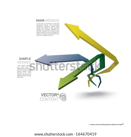 Vector design. Pastel edition of  scalable eps10 illustration of a geometric abstract levitating arrow composition in 3d space for destinations & infographics & web site & brochure or menu navigation - stock vector