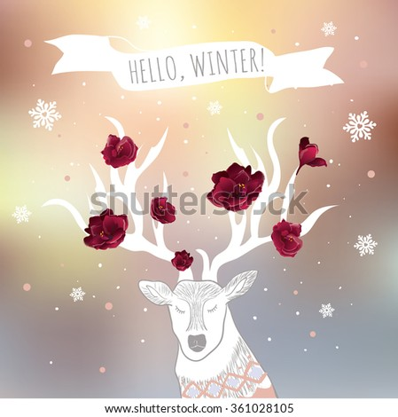 """Vector design poster """"Hello, Winter"""". Winter concept card. Winter background with deer, flowers, snowflakes, sweater, ribbon.  - stock vector"""