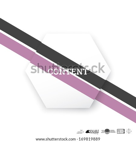 Vector design. Purple black pastel edition of a minimal scalable abstract geometric hexagon shape textbox with an artistic background. Layout element for web, brochure, presentation or infographics.  - stock vector