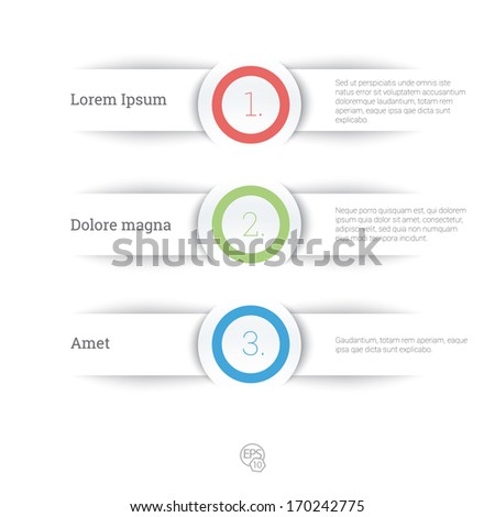 Vector design, Rgb edition of an adjustable eps10 composition an abstract minimal geometric paper background based list elements with menu field for numbering for web, print, brochure or infographics - stock vector