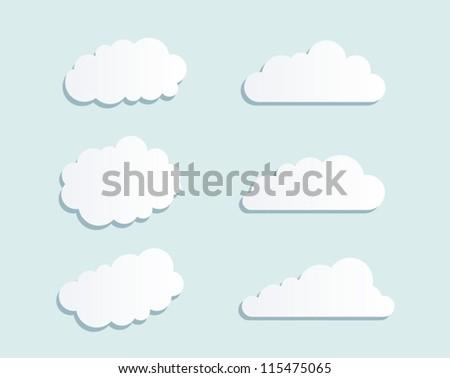 vector design set of clouds in the sky - stock vector