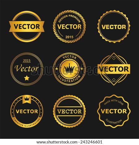 Vector design set  of emblem, stamp, illustrations - stock vector