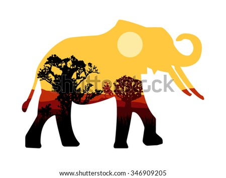 Vector design. Silhouette of elephant with african landscape.  - stock vector