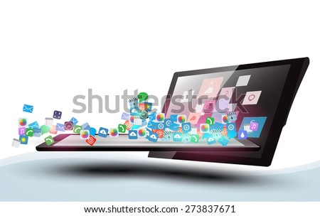 Vector design Tablet Computer with Application icon, Network and Technology Information concept on Smartphone, Business software and social media networking - stock vector