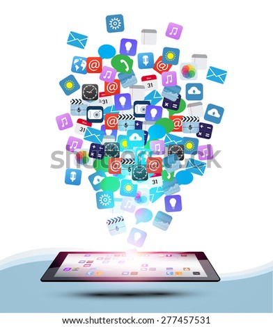 Vector design Tablet Computer with Application icon, Network and Technology Information concept on Tablet Computer, Business software and social media networking - stock vector